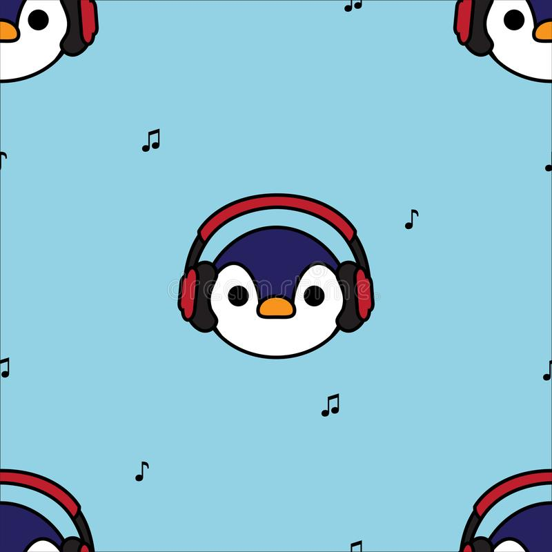 Seamless pattern penguin with red headphones vector illustration