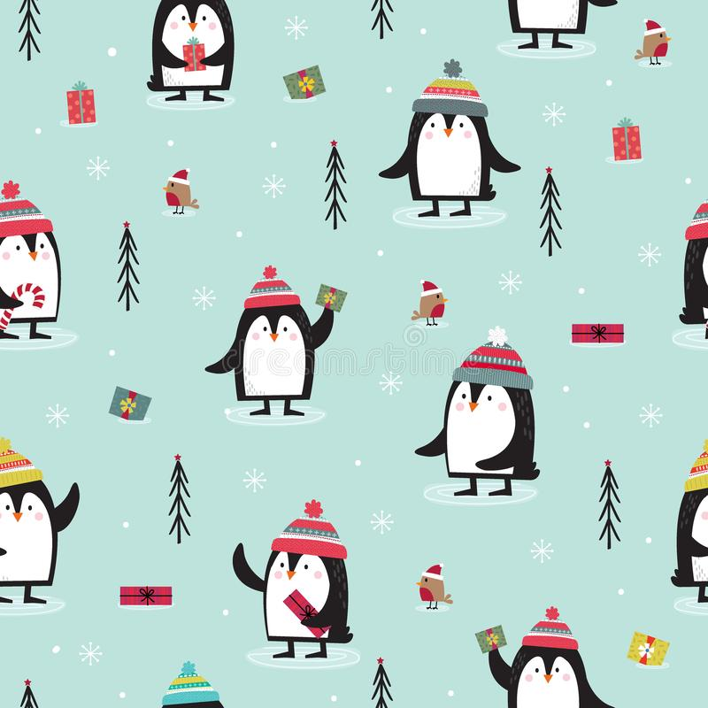 Seamless pattern with Penguin, Robin, gift and Christmas tree in blue background vector illustration