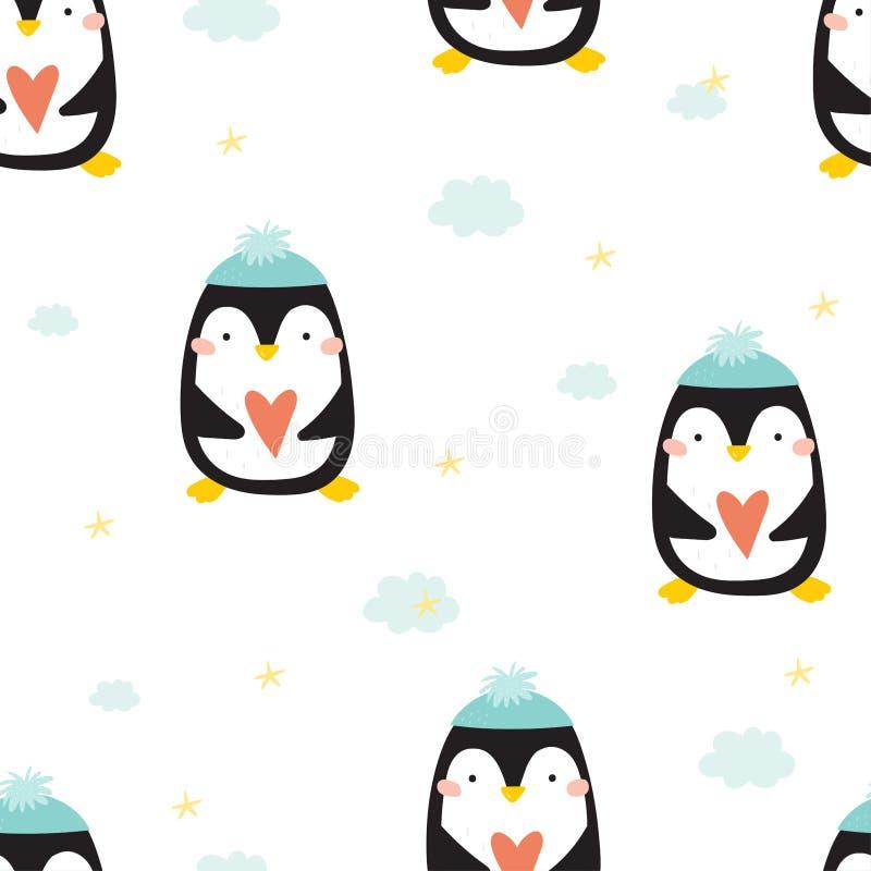 Seamless pattern with penguins. Cute penguin cartoon illustration. Animals pattern stock illustration