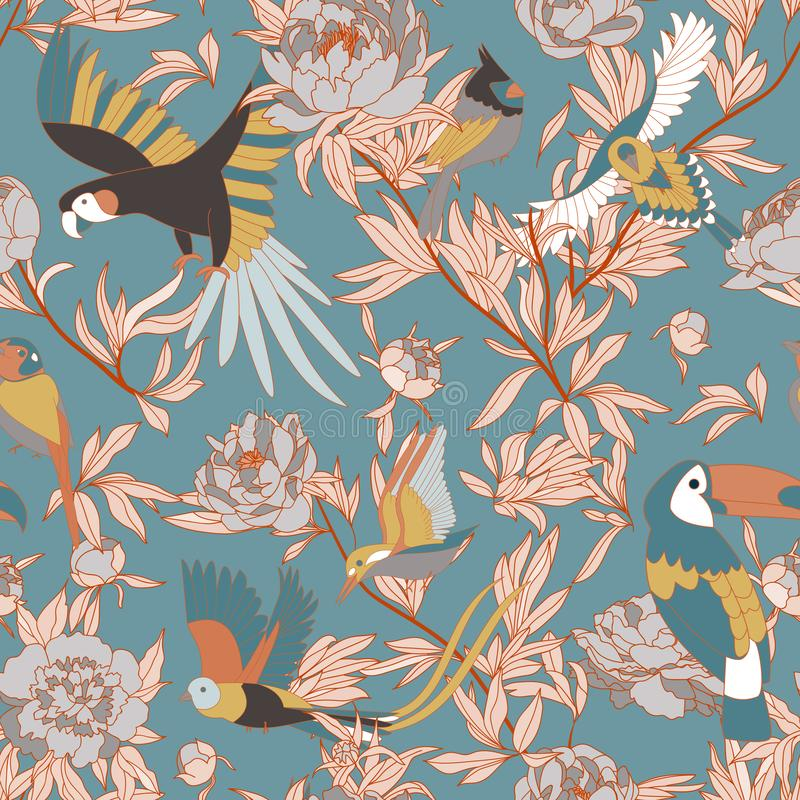 Seamless pattern with peonies and parrots weaving together. Bright tropical pattern, flowering peonies, and birds. on royalty free illustration