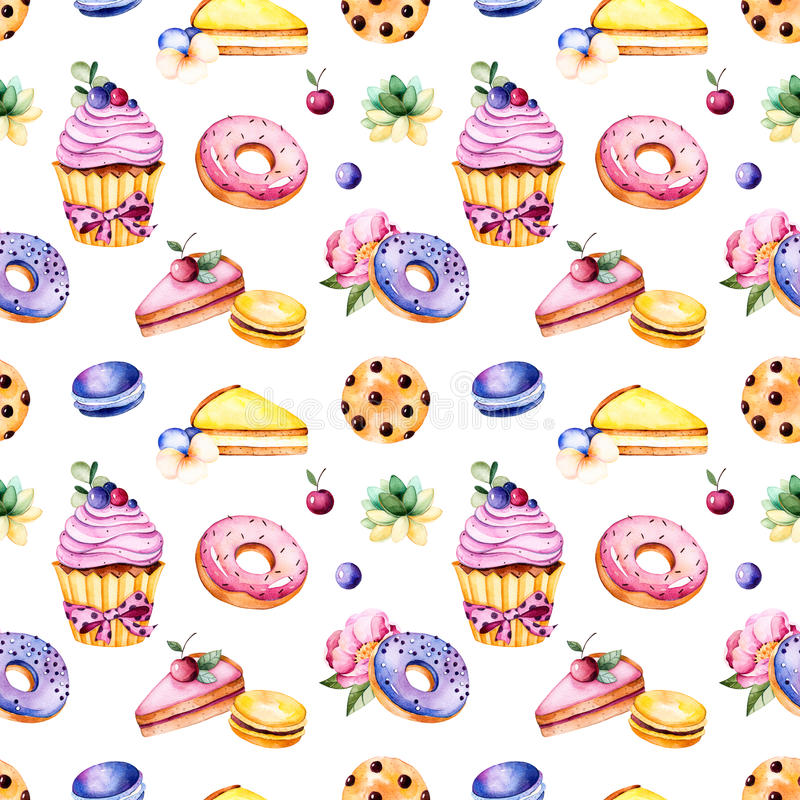 Seamless pattern with peony flower,leaves,succulent plant,tasty cupcake,pansy flower,macaroons,donuts,cookies,lemon and cherry che. Esecakes,berries.Sweet Summer stock illustration