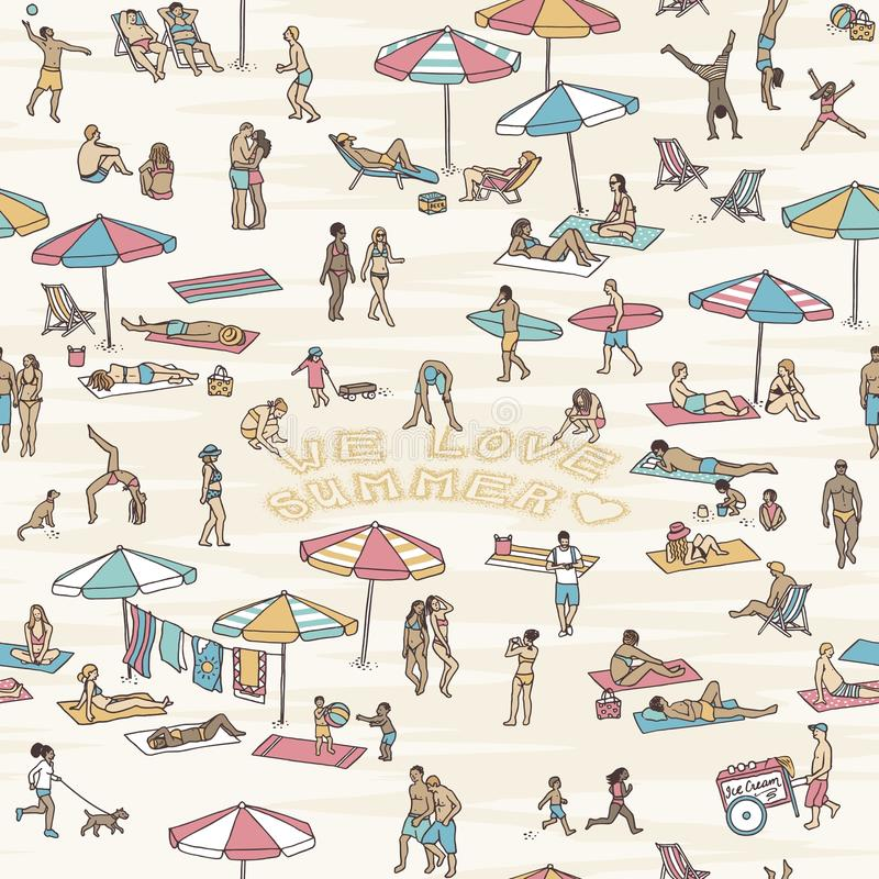 Seamless pattern with people at the beach vector illustration