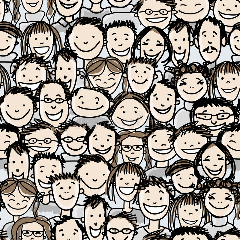 Seamless pattern with people crowd for your design stock illustration