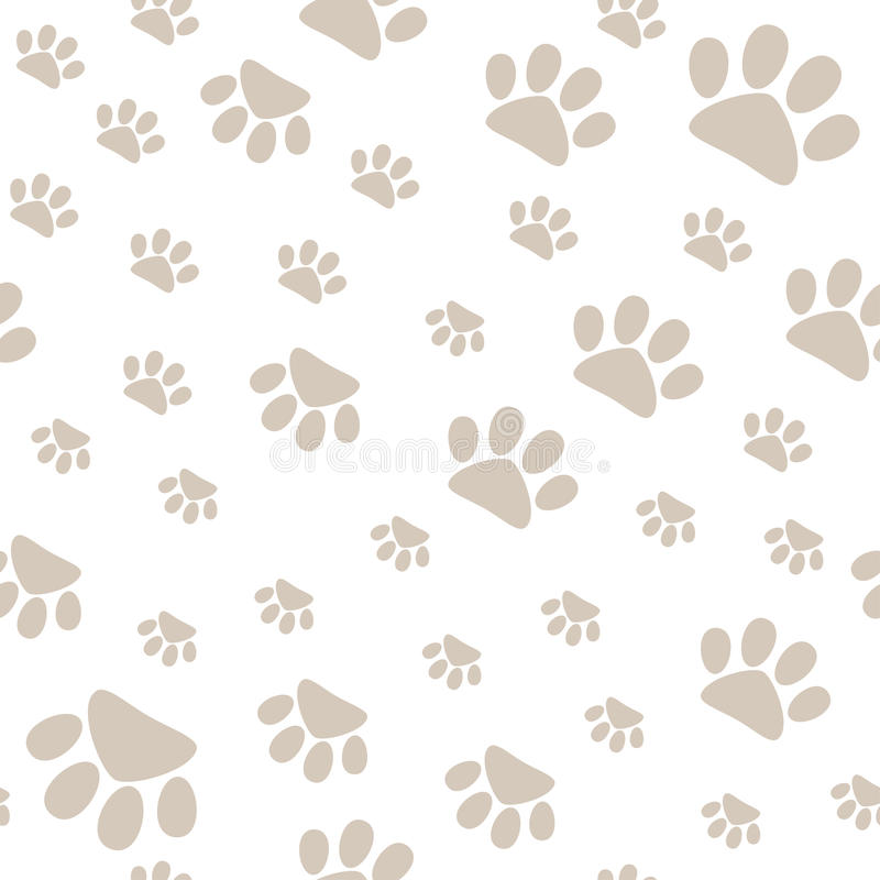 Seamless pattern with pet paws walking in different sides, vector vector illustration