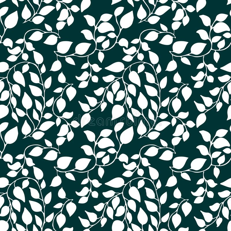 Seamless pattern with petal and leaves. Floral botanic background with ornate. royalty free illustration