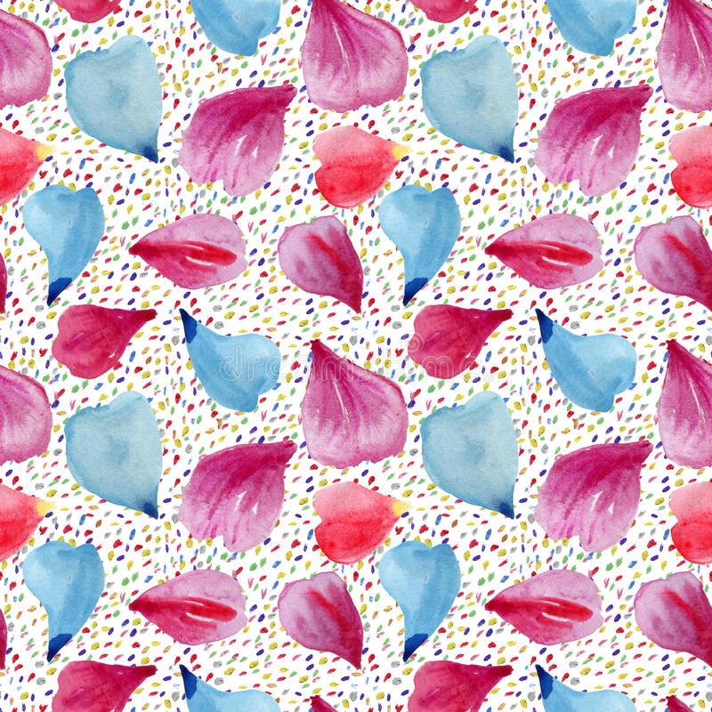 Seamless pattern: petals of pink, red and blue flowers. Watercolor background stock photography