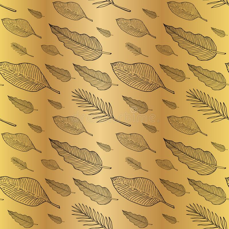 Seamless pattern with leaves or feathers. Black outlines on golden background. Vector illustration. EPS10 vector illustration