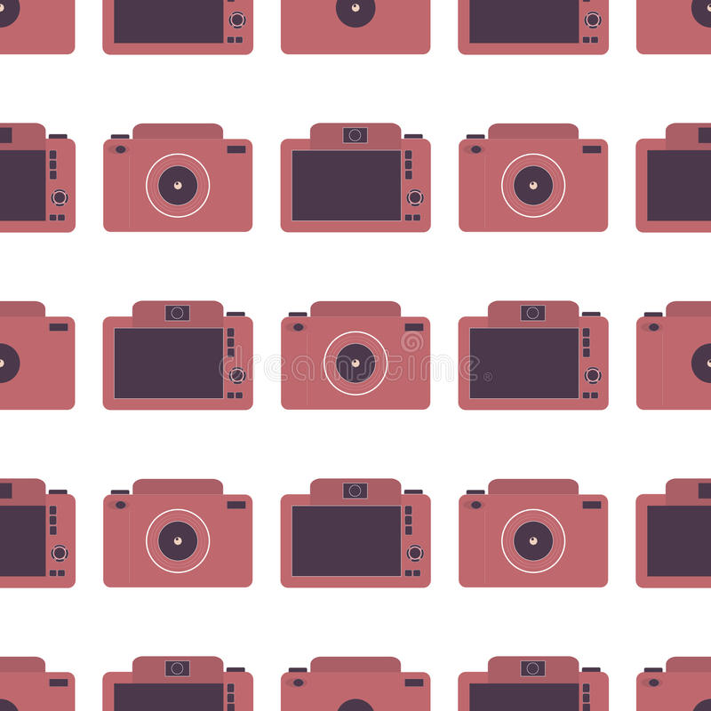 Seamless pattern with photo cameras stock photography
