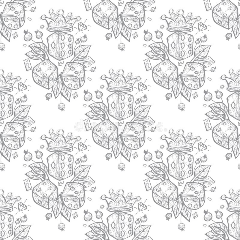 Seamless pattern with a picture of dice, a golden crown and green leaves vector illustration