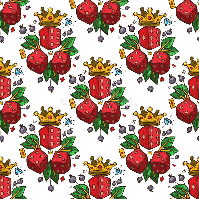 Seamless pattern with a picture of dice, a golden crown and green leaves stock illustration