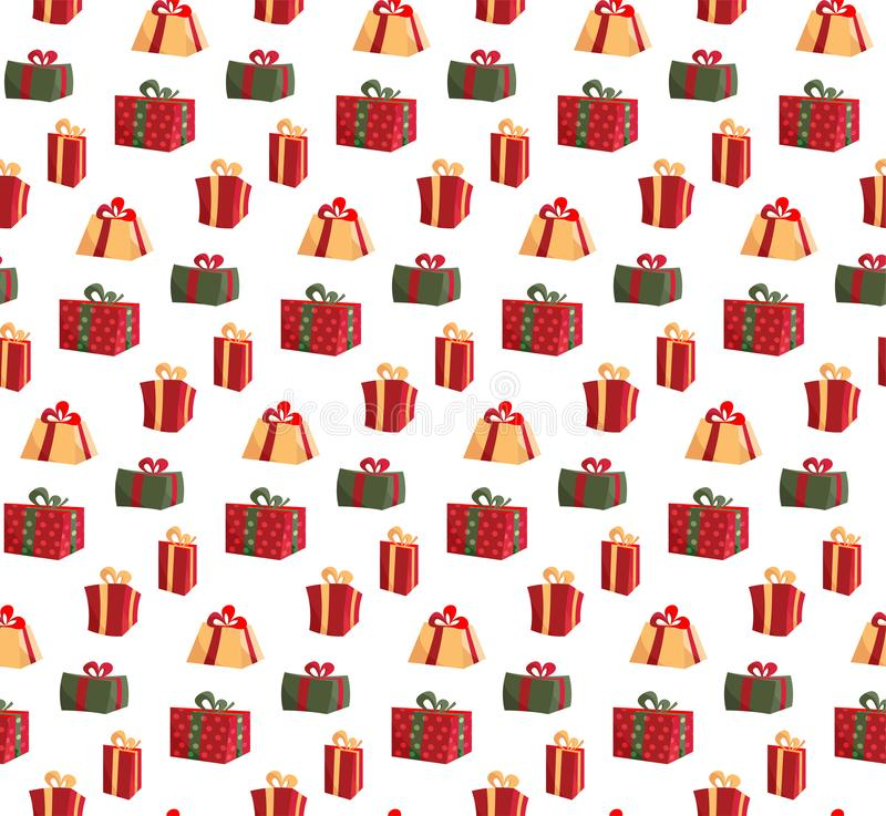 Seamless Pattern with Picture of Gift Boxes. Pattern gift box for fabric print, wrapping package gift box paper. Red royalty free illustration