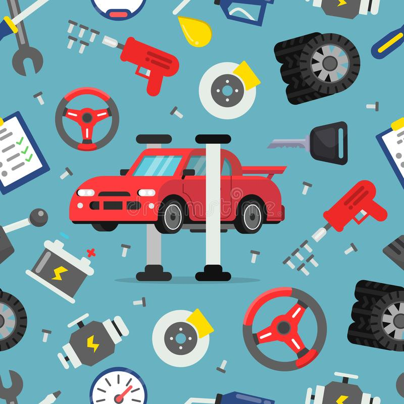 Seamless pattern with pictures of auto spare parts. Background automobile repair, gear and detail for car, vector illustration vector illustration