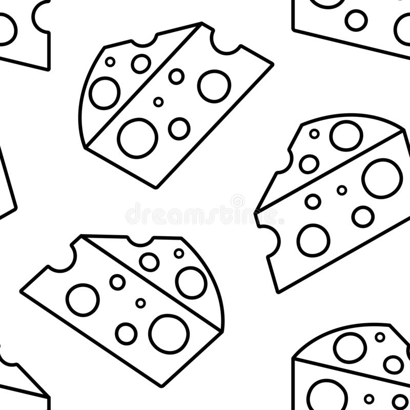 Seamless pattern with piece cheese isolated on white background, line art. Vector. Illustration royalty free illustration