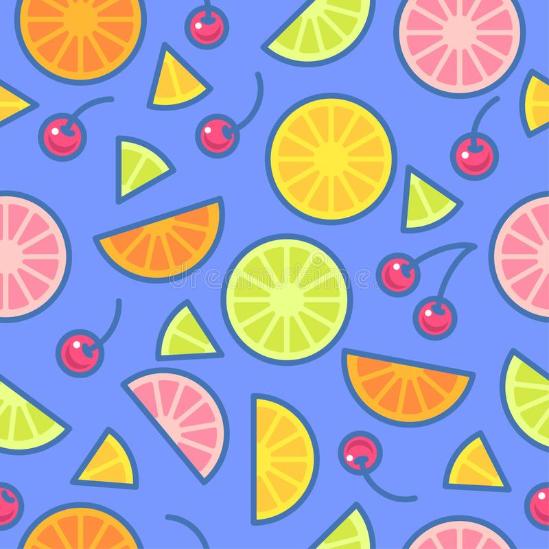 Seamless pattern. Pieces of oranges, limes, lemons and cherries on a blue background. stock illustration