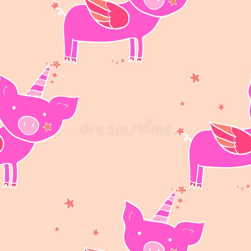 Seamless pattern. Pig with wings and horn. Cute cartoon character. Design element vector illustration