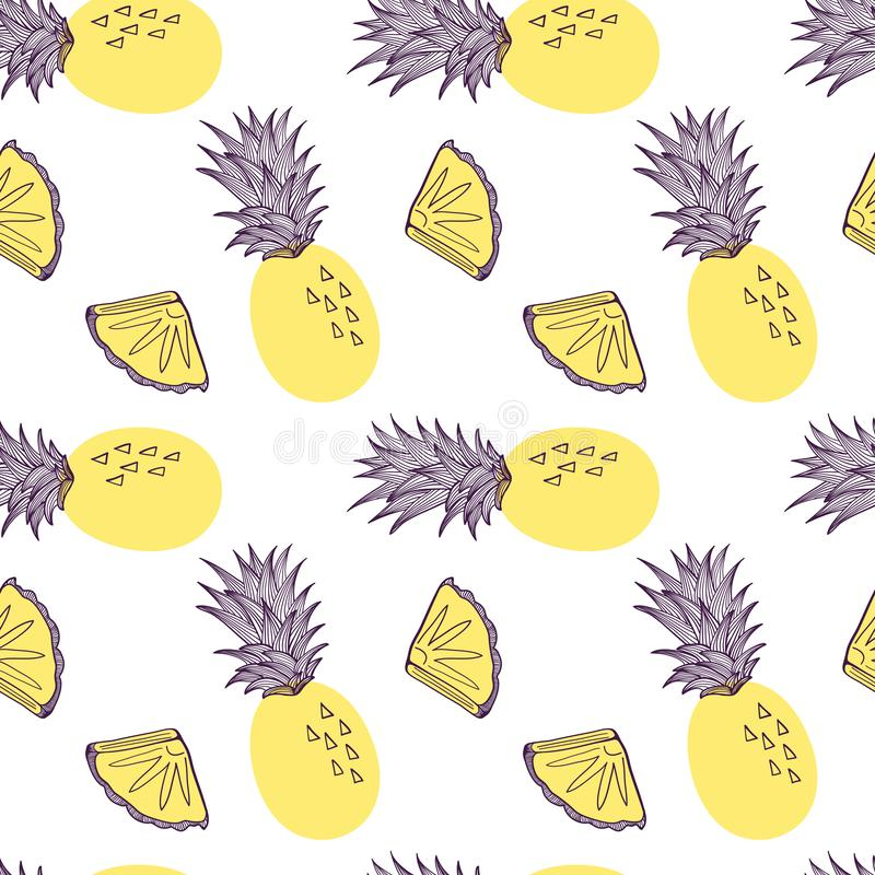 Seamless pattern of pineapple. Fruit and slice of exitix tropical. Vector hand drawn illustration set in modern trendy royalty free illustration