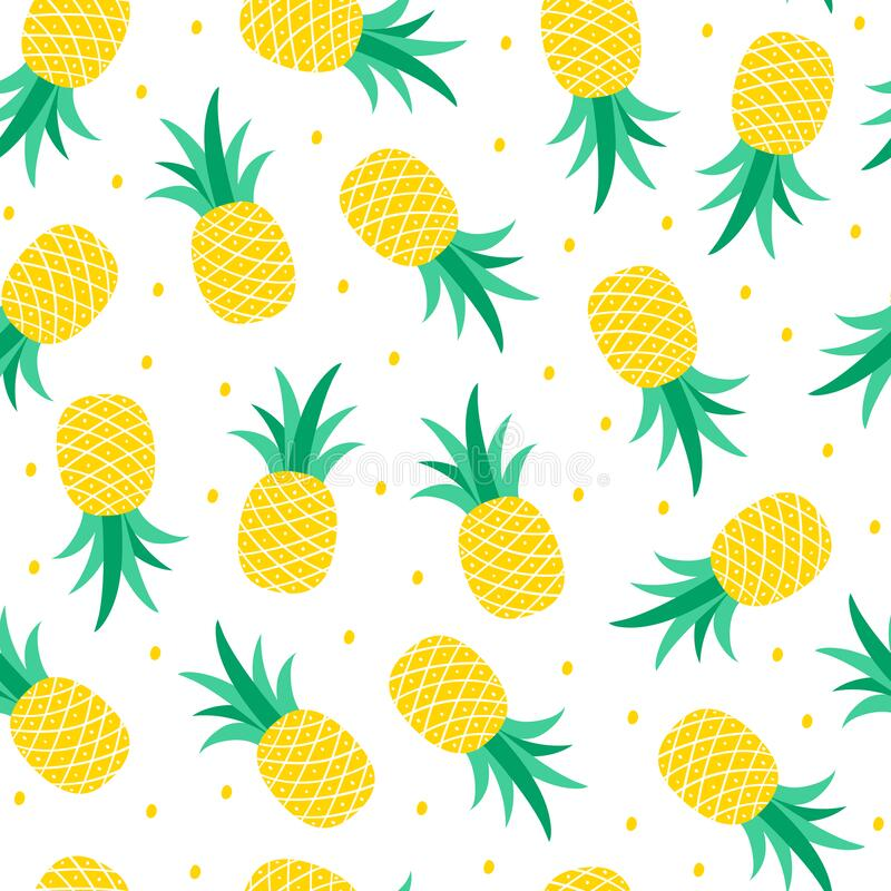 Seamless pattern with pineapple on a white background. Vecto stock images