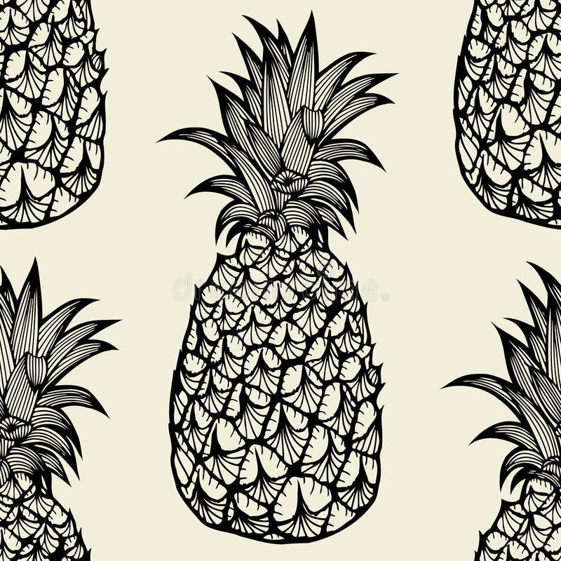 Seamless pattern with pineapples stock illustration