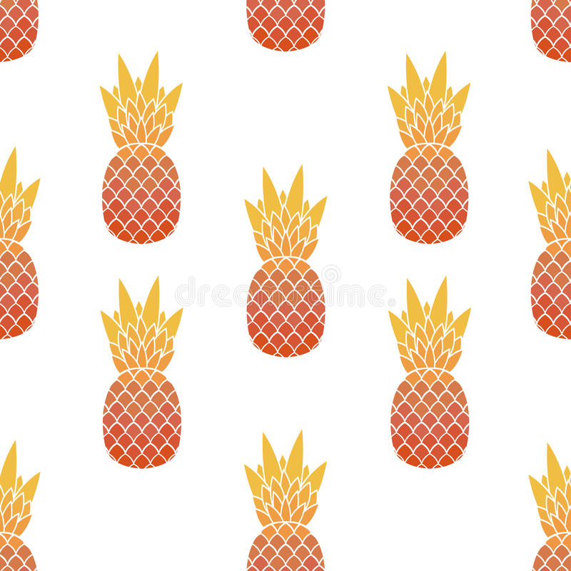 Seamless pattern of pineapples with leaf. Tropical, exotic fruits vector illustration