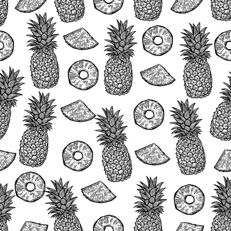 Seamless pattern of pineapples and pieces of pineapples on black background. vector illustration