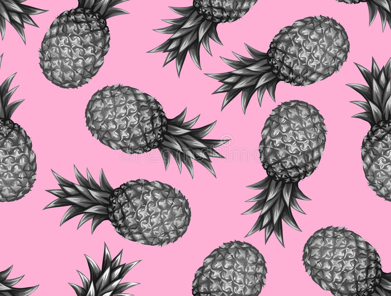 Seamless pattern with pineapples. Tropical abstract background in retro style. Easy to use for backdrop, textile vector illustration