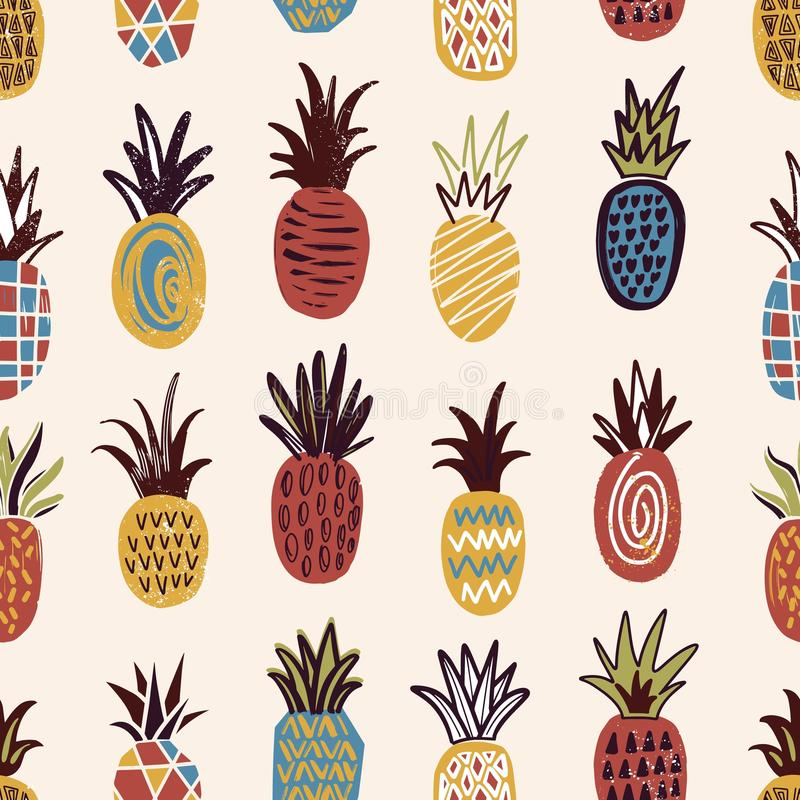 Seamless pattern with pineapples of various color and texture on light background. Backdrop with exotic tropical ripe stock illustration