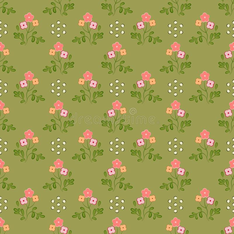 Seamless pattern of pink and apricot flowers with green leaves, on an olive background. vector illustration