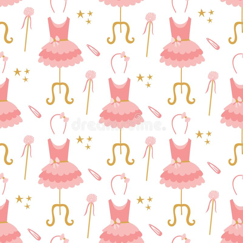 Seamless pattern of pink ballerina tutu dresses on mannequins, hair bands, stars, and magic wands vector illustration