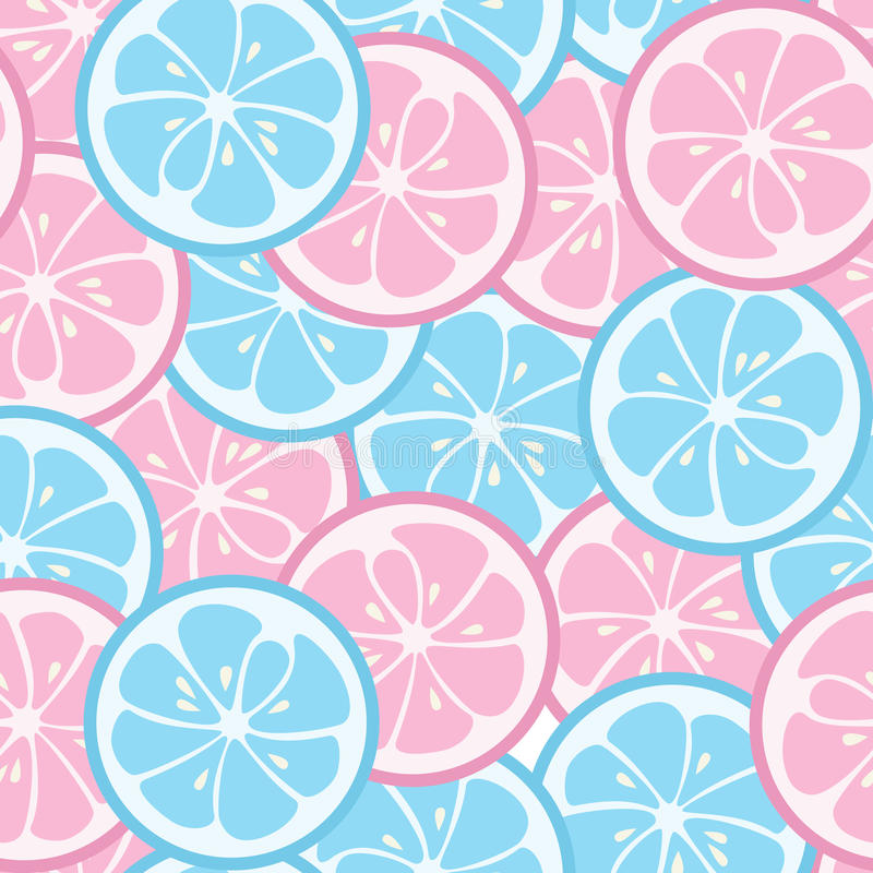 Seamless pattern with pink and blue citrus stock illustration