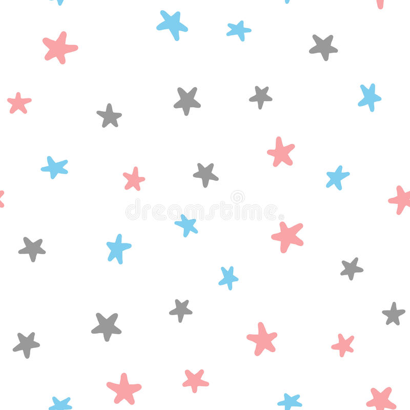 Seamless pattern with pink, blue, dark gray stars on white background. royalty free illustration