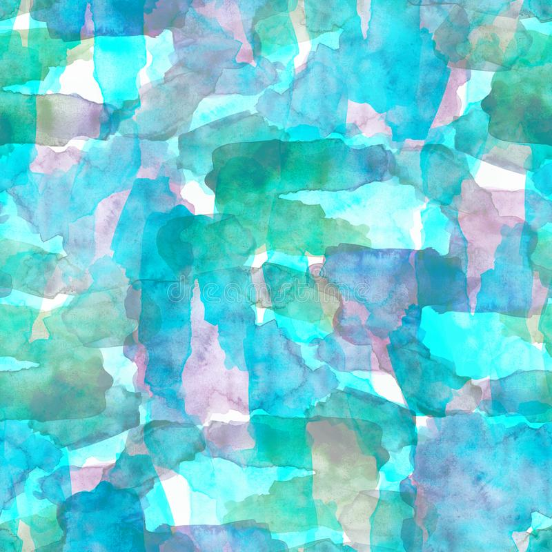 Seamless pattern of pink, blue and purple watercolor blots for background royalty free illustration