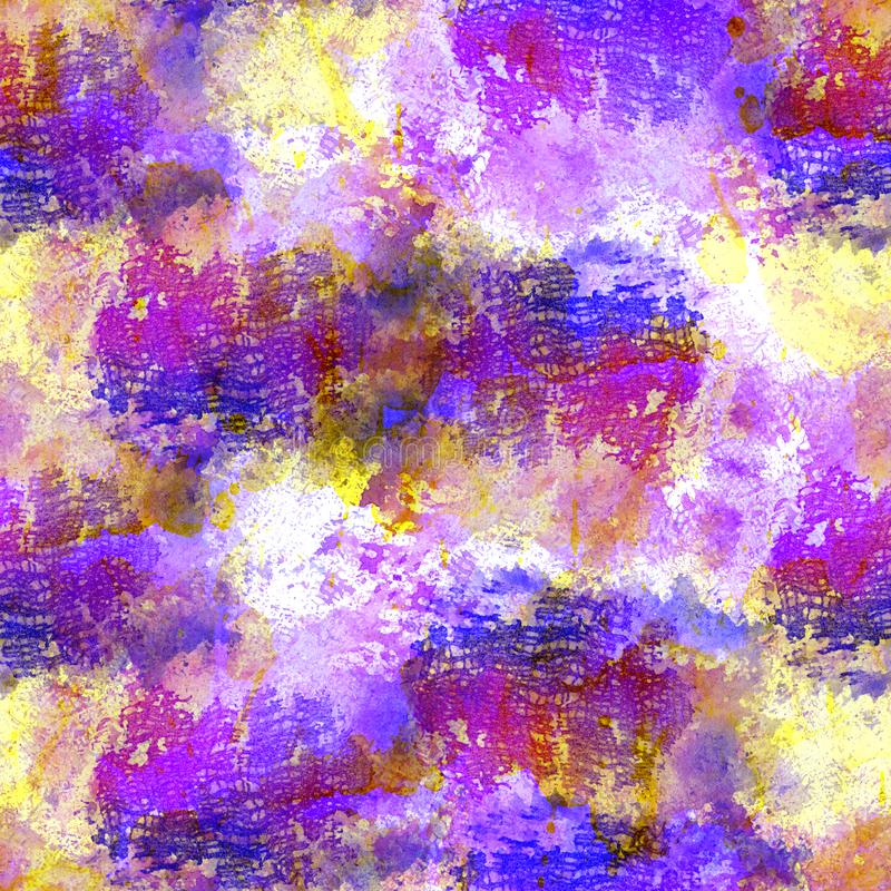 Seamless pattern of pink, blue and purple watercolor blots for background stock illustration
