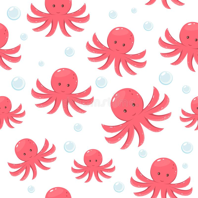 Seamless Background with Octopus stock illustration