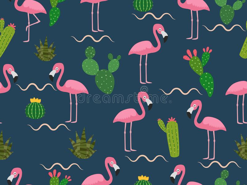 Seamless pattern of pink flamingo with tropical cactus on dark background stock illustration