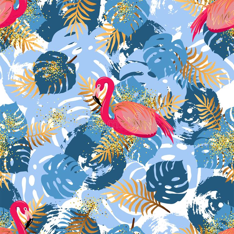 Seamless pattern with pink flamingo and tropical leaves vector illustration