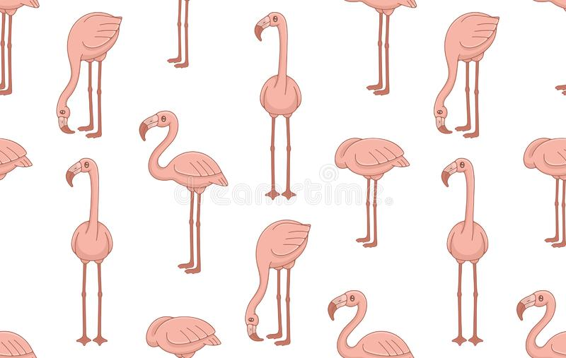 Seamless Pattern with Pink Flamingos stock illustration