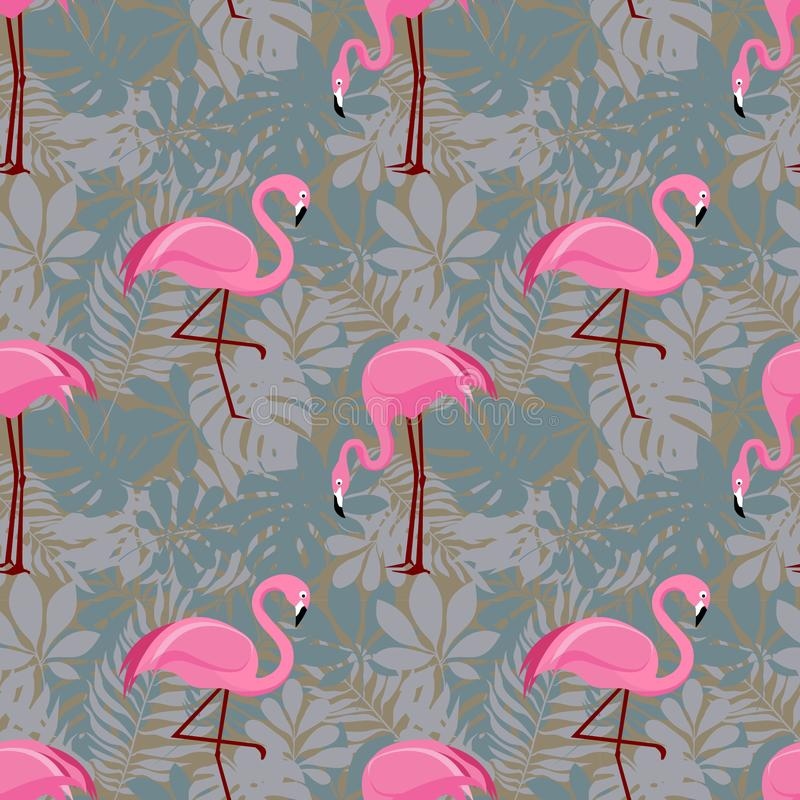 Seamless pattern with pink flamingos royalty free stock photo