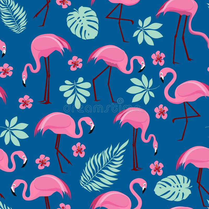 Seamless pattern with pink flamingos stock images
