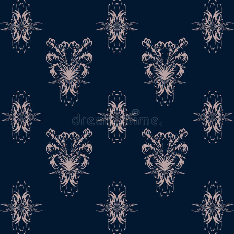 Seamless pattern with pink floral pattern on dark blue background royalty free stock photos