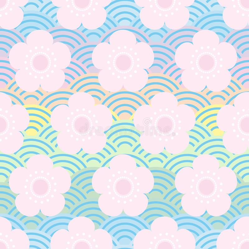 Seamless pattern pink flowers japanese cherry blossoms on blue rainbow background. Asian simple ornament, oriental style scales,. Japanese circle. Can be used stock illustration