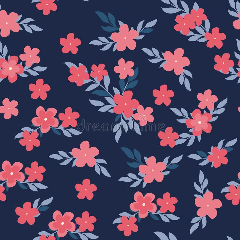 Seamless pattern with pink flowers and leaves on dark background. Vector floral pattern. Floral illustration for vector illustration