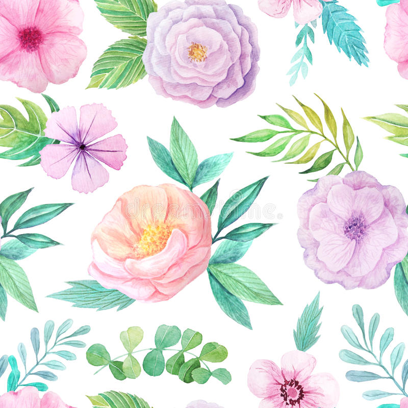 Seamless pattern with pink flowers and leaves royalty free illustration