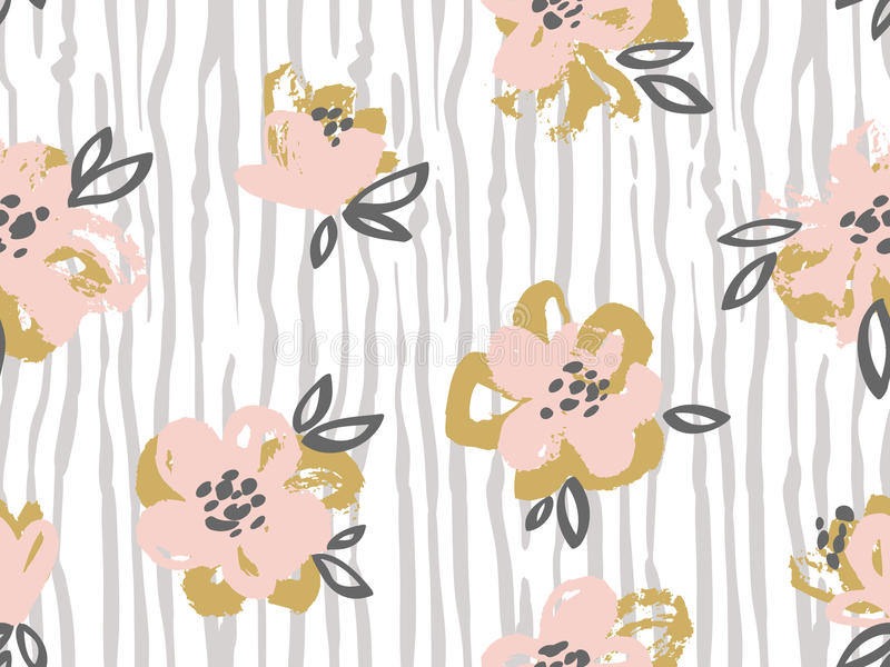 Seamless pattern with pink and gold flowers on the striped download seamless pattern with pink and gold flowers on the striped background stock vector mightylinksfo