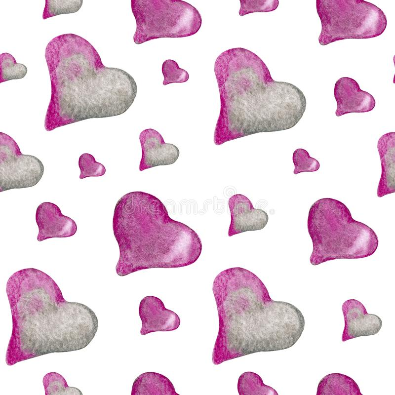 Seamless pattern with pink and gray hearts. Watercolor illustration on a white background for the design of children`s products, vector illustration