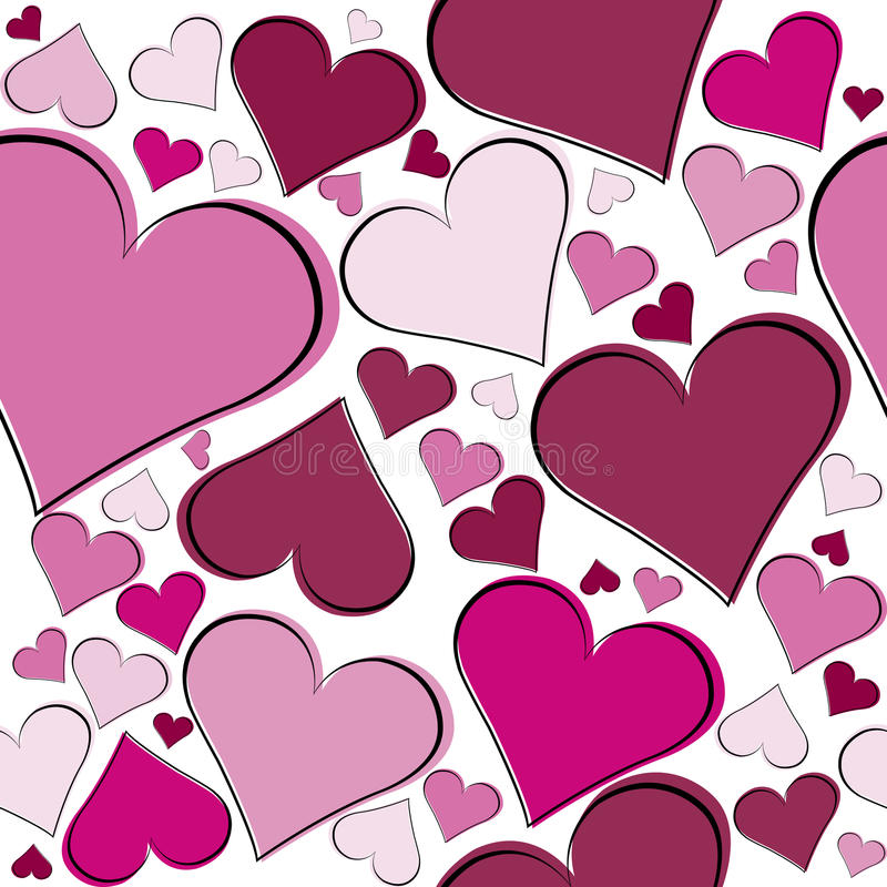 Seamless pattern with pink hearts stock illustration