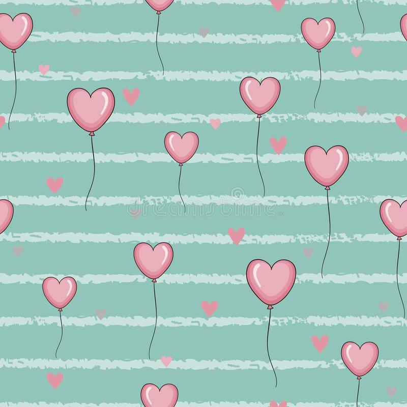 Seamless pattern with pink hearts balloons on striped background. vector illustration
