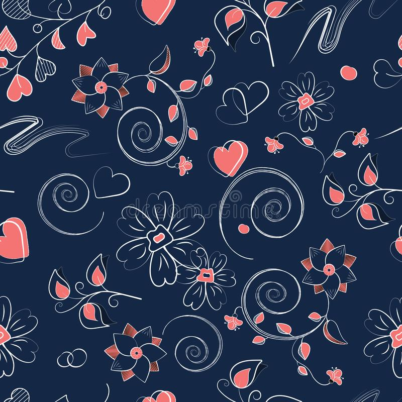 Seamless pattern with pink hearts, curls and flowers royalty free illustration