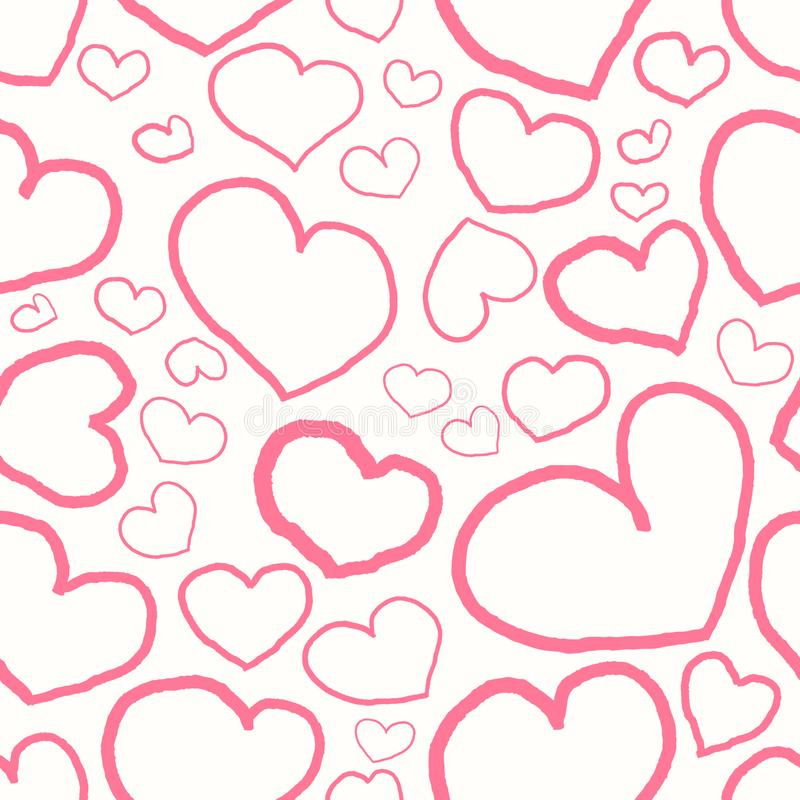 Seamless pattern with pink hearts royalty free illustration