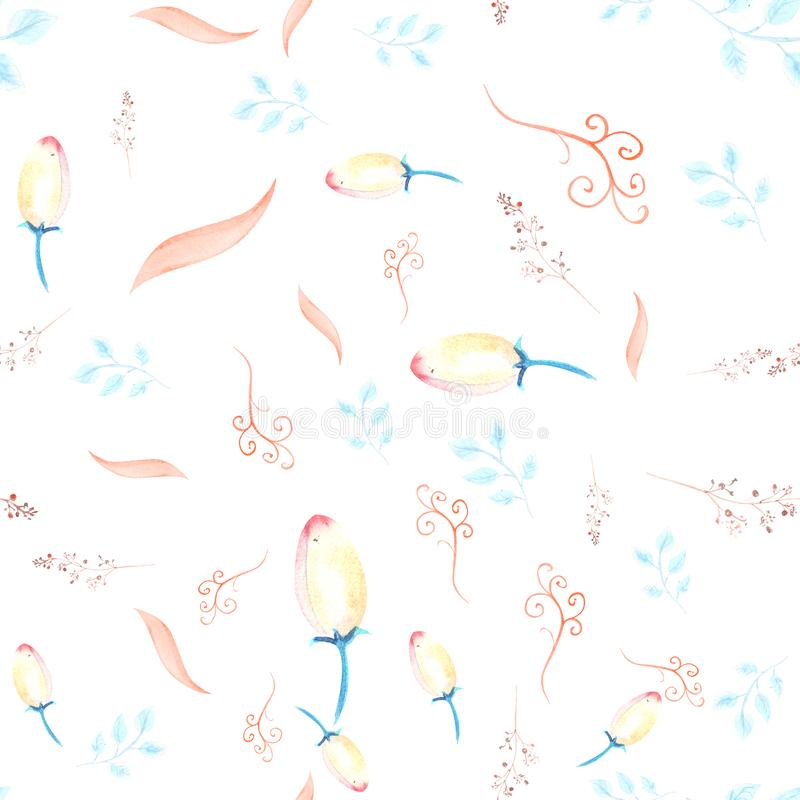 Seamless pattern with pink hellebore flowers, buds, leaves, decorative twigs on white isolated . Watercolor illustration, handmade. Card, graphic, watercolour royalty free illustration