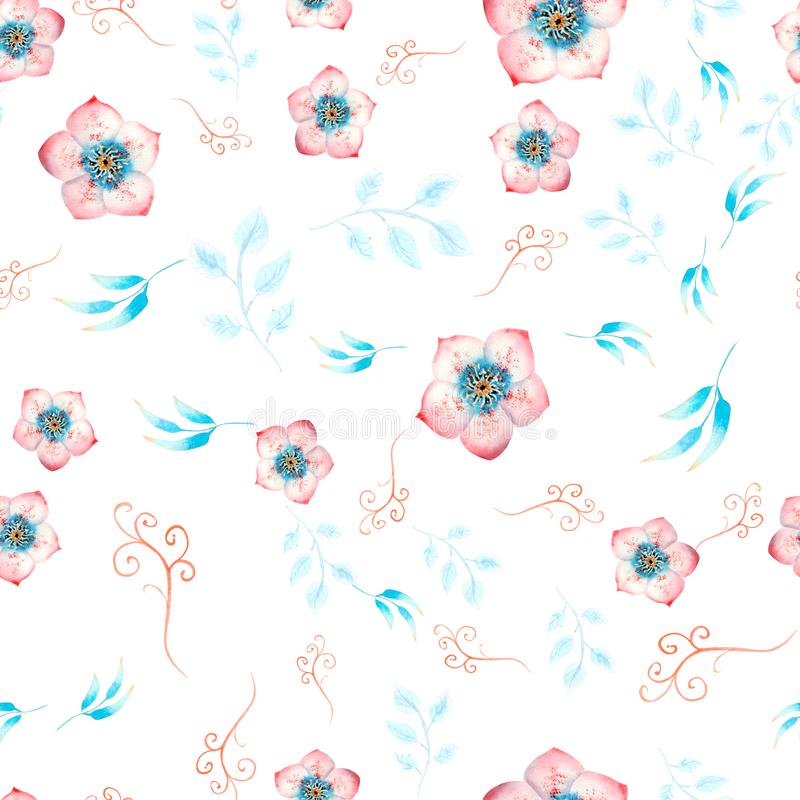 Seamless pattern with pink hellebore flowers, buds, leaves, decorative twigs on white isolated . Watercolor illustration, handmade. Card, graphic, watercolour vector illustration